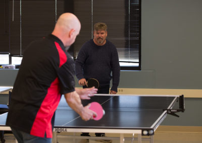 The WIN employee lounge features ping pong
